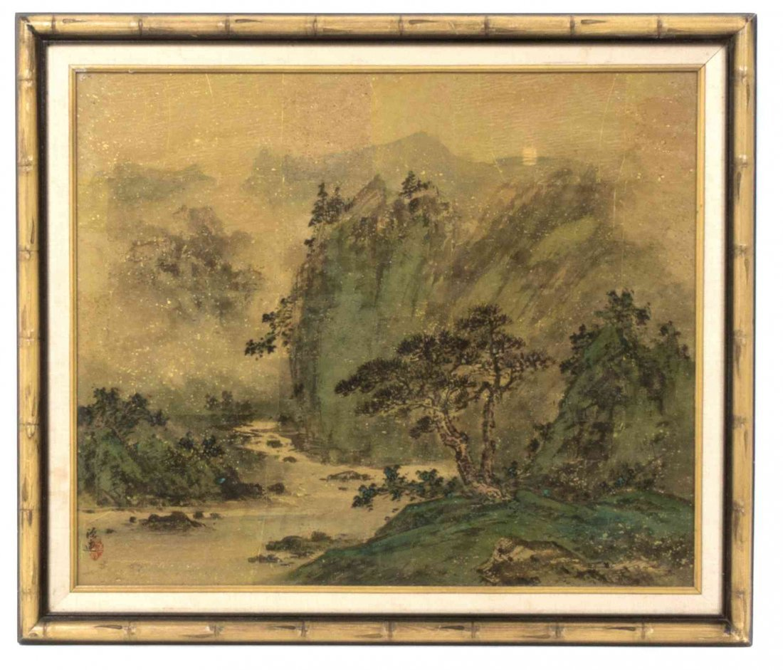 A Chinese Painting of a Landscape, Height 19 1/4 x