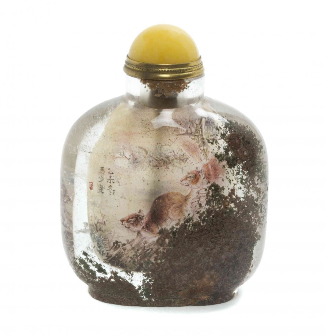 An Interior Painted Rock Crystal Snuff Bottle, Height 2