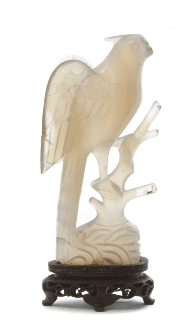 A Chinese Carved Agate Figure of a Parrot, Height 4