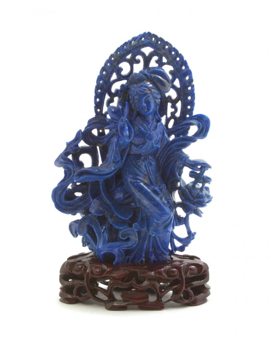 A Chinese Carved Lapis Figure, Height overall 5 7/8