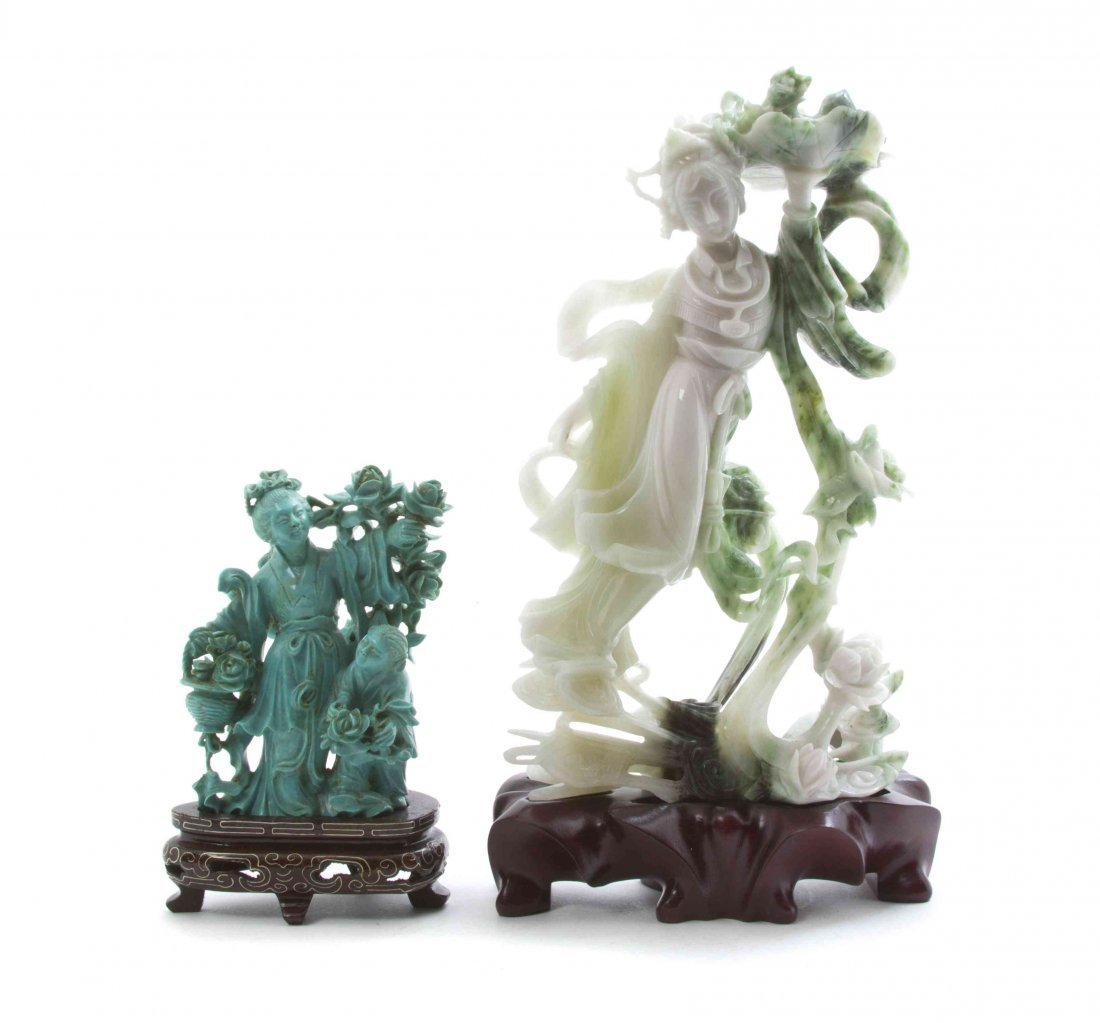 A Chinese Carved Turquoise Figural Group, Height of