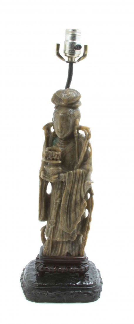 A Chinese Carved Soapstone Figure, Height 13 1/2