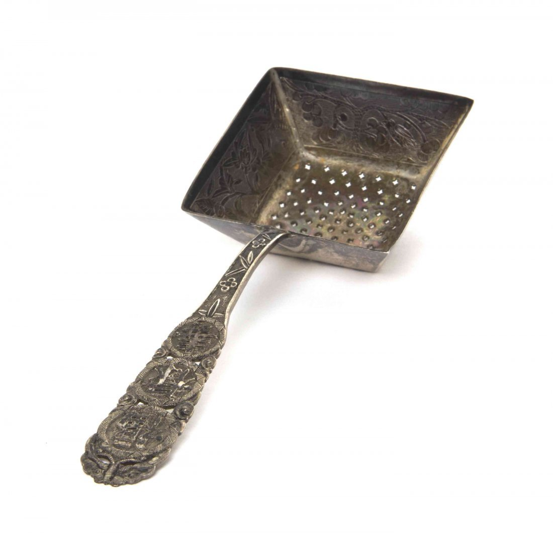 A Chinese Export Silver Tea Strainer, Length 5 3/8
