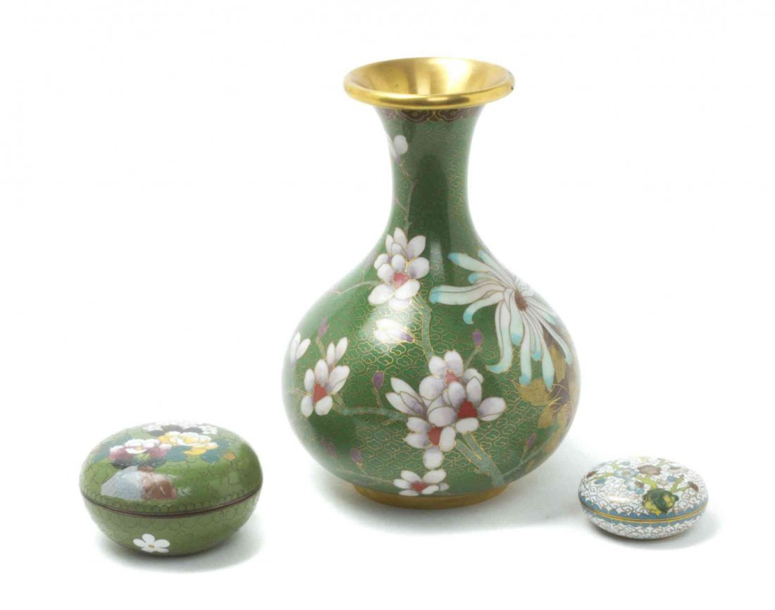 A Chinese Cloisonne Enamel Vase, Height of first