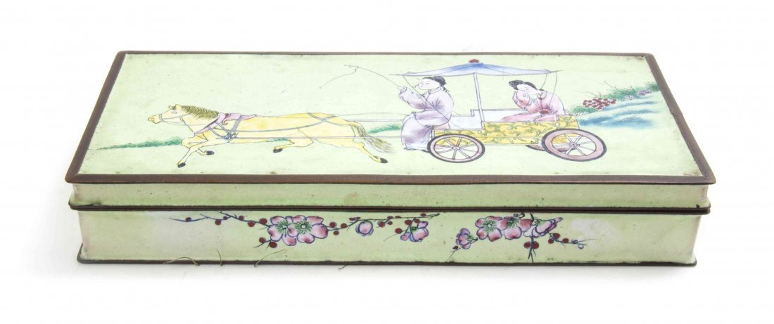 A Canton Enameled Lidded Box, Length 7 3/4 inches.