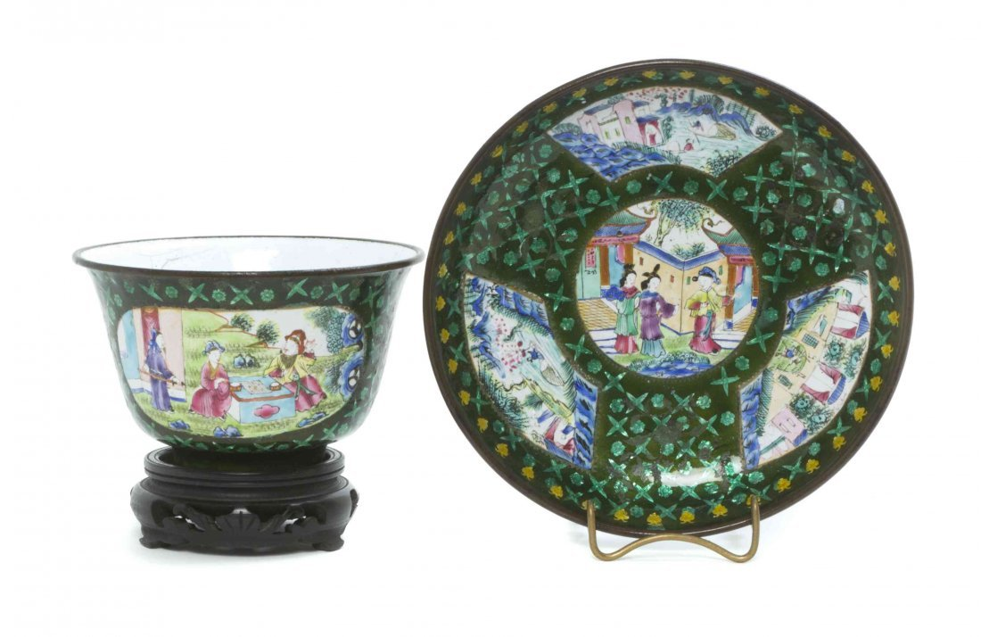 A Canton Enamel Bowl and Dish, Diameter of dish 5 1/8