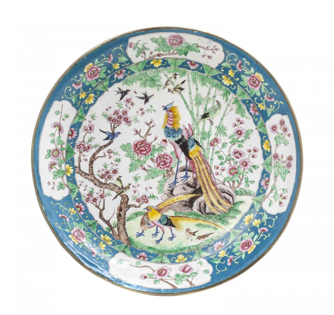 A Canton Enamel Charger, Diameter 14 1/8 inches.