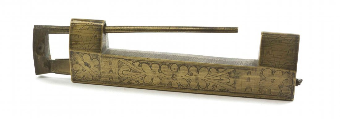 A Chinese Brass Lock, Length 6 inches.