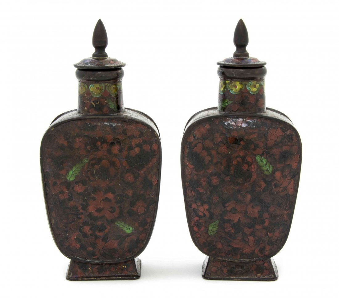 A Pair of Cloisonne Enamel Lidded Jars, Height overall