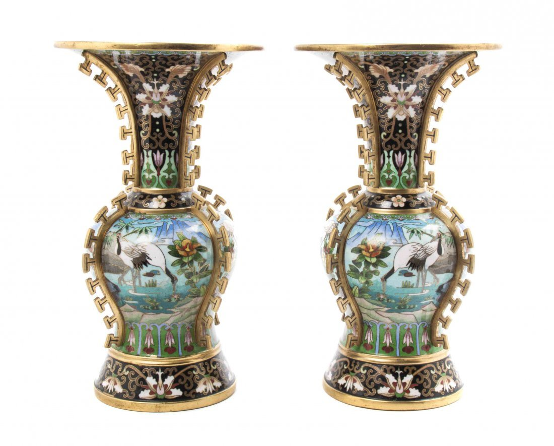 A Pair of Chinese Cloisonne Enameled Vases, Height 10