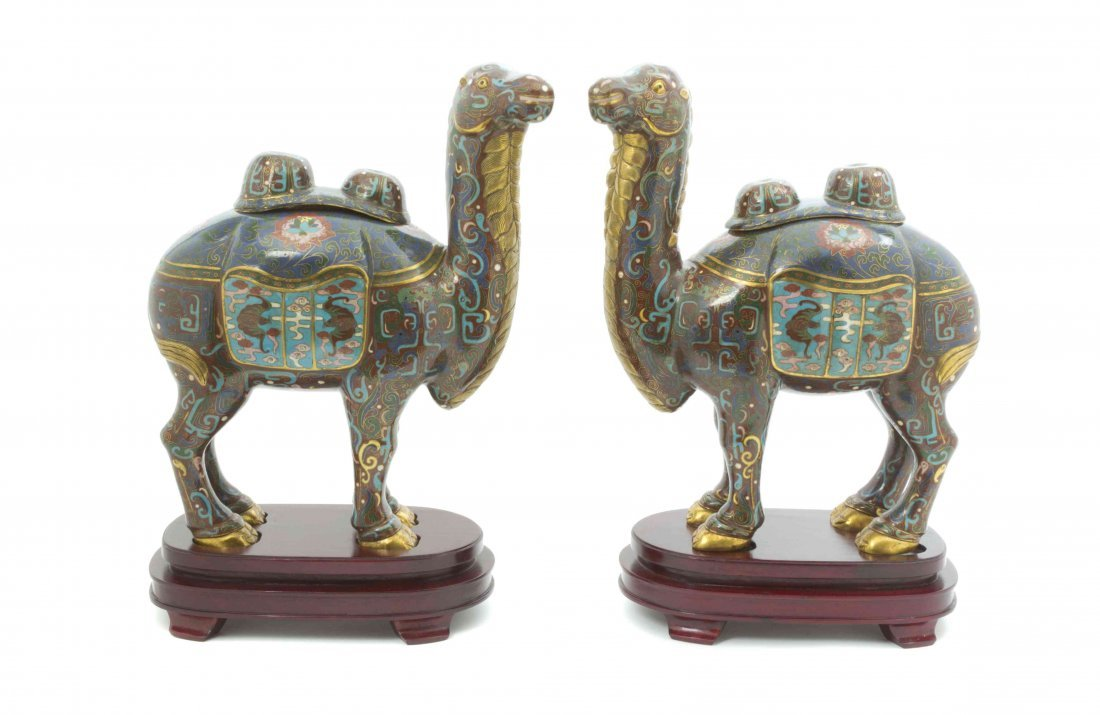 A Pair of Chinese Cloisonne Camels, Height 15 3/4