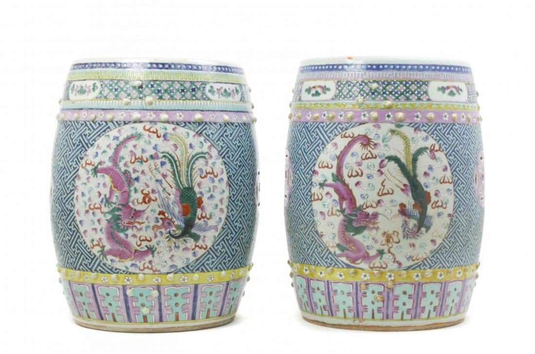 A Pair of Chinese Famille Rose Garden Seats, Height 18