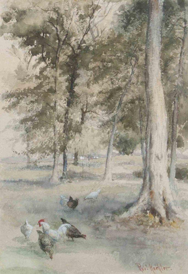 Robert Koehler, (American/German, 1850-1917), Chickens