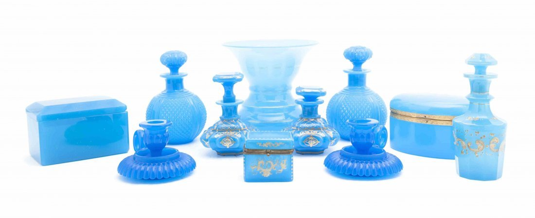 A Collection of Blue Glass Table Articles, Height of