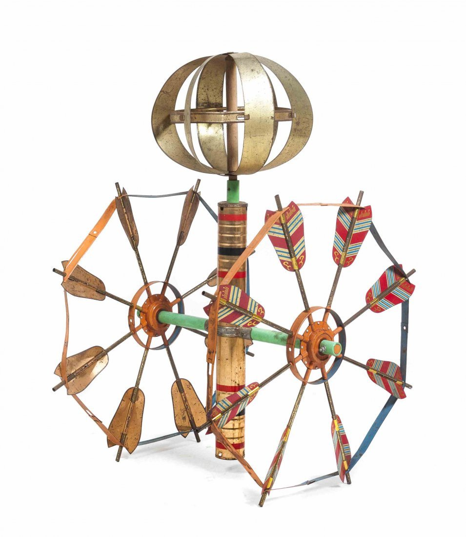A Painted Wood and Metal Whirlygig, Height 31 1/2 x