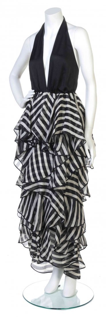 A Galanos Black and White Satin Halter Dress,