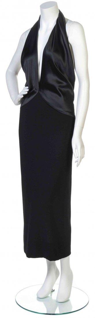 A Black Satin Halter Dress,
