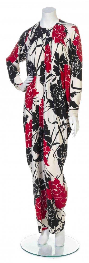 A Galanos Red, White and Black Floral Print Crêpe de