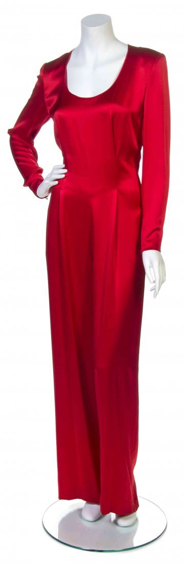 A Galanos Red Satin Jumpsuit,