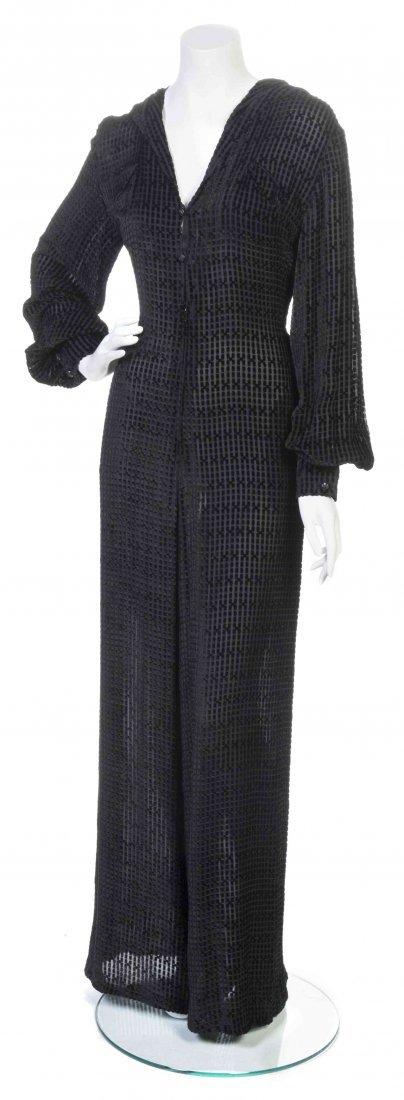 A Galanos Black Cut Velvet Hooded Jumpsuit,