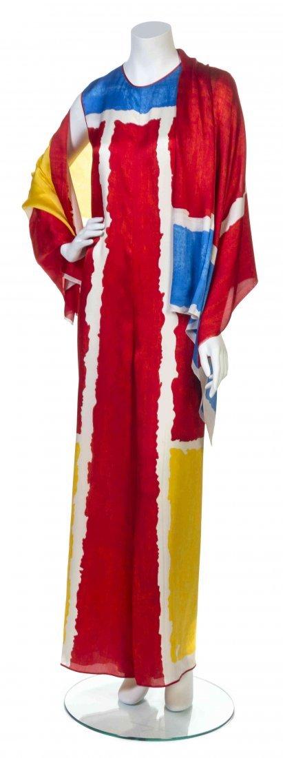 A Galanos Multicolor Print Satin Jumpsuit,