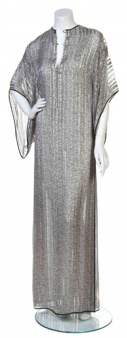 A Galanos Black and Silver Silk Print Dress,