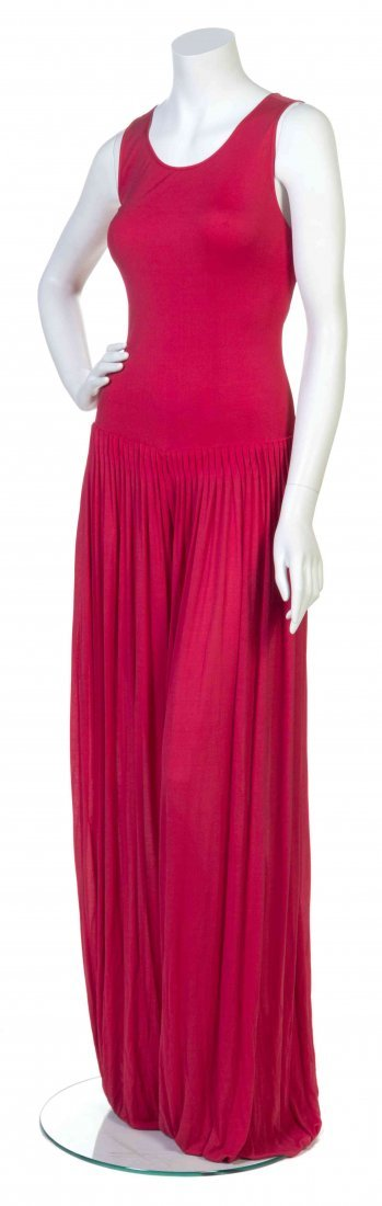 A Galanos Red Silk Jersey Jumpsuit,