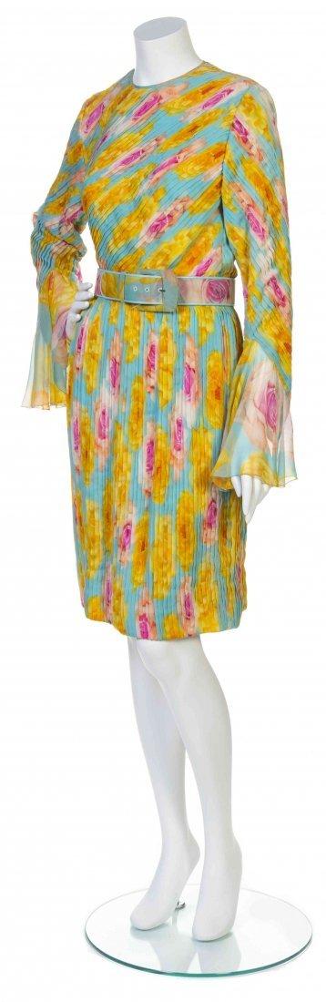 A Galanos Multicolor Rose Print Chiffon Dress,