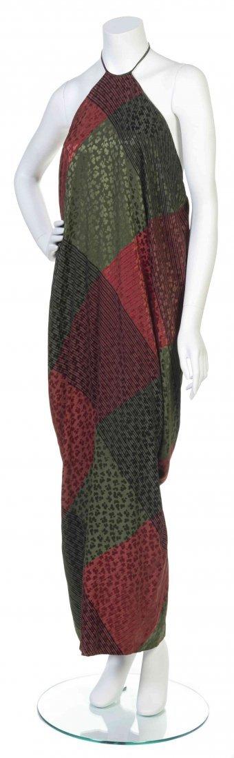 A Galanos Red and Green Print Silk Jacquard Dress,