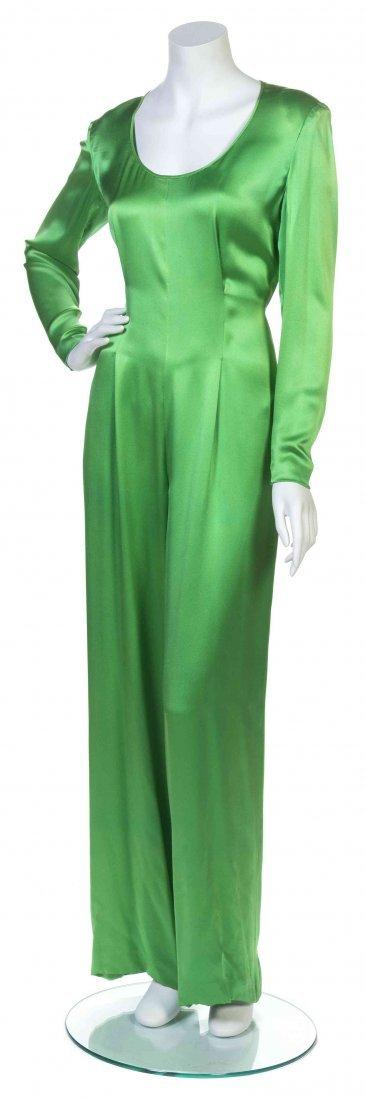 A Galanos Emerald Silk Charmeuse Jumpsuit,
