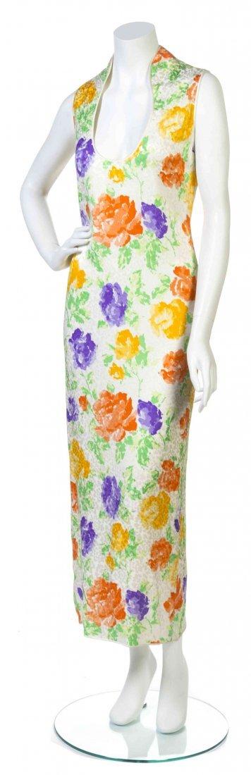 A Galanos Multicolor Floral Print Jacquard Satin Dress,