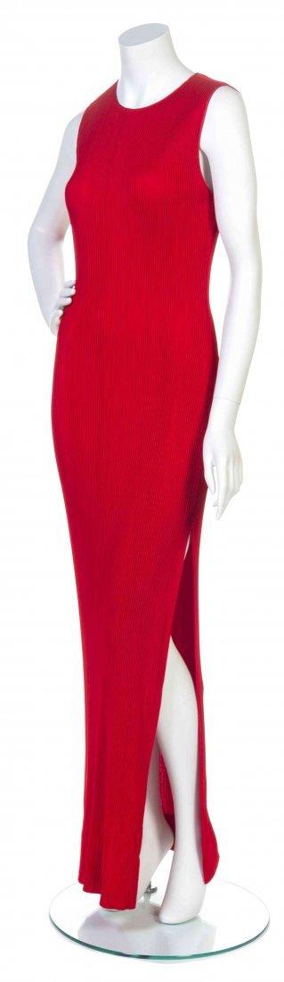 A Galanos Red Knit Pintuck Dress,