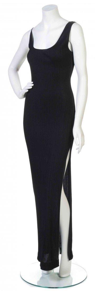 A Galanos Black Knit Pintuck Tank Top Dress,