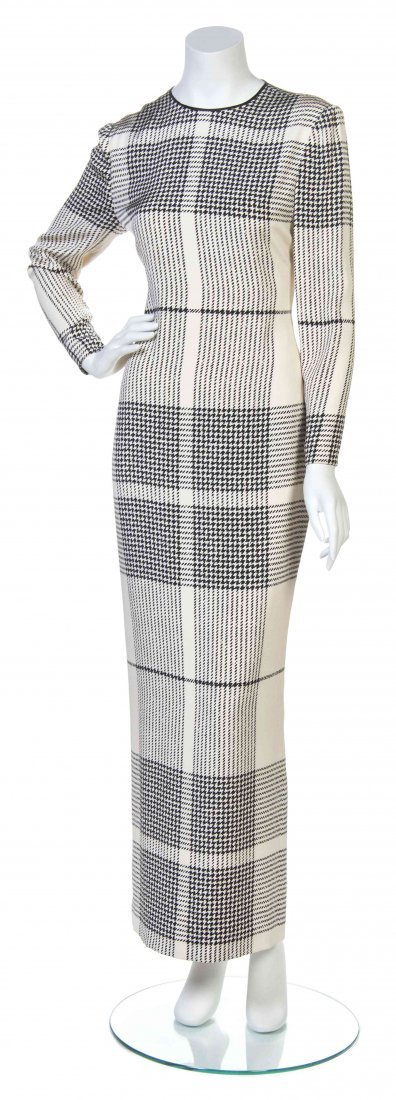 A Black and Ivory Houndstooth Print Silk Crepe Dress,
