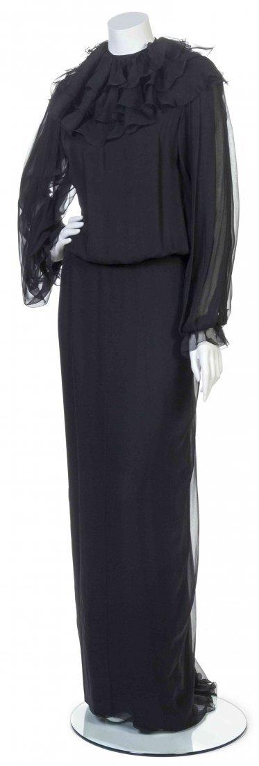 A Galanos Black Silk Chiffon Dress,