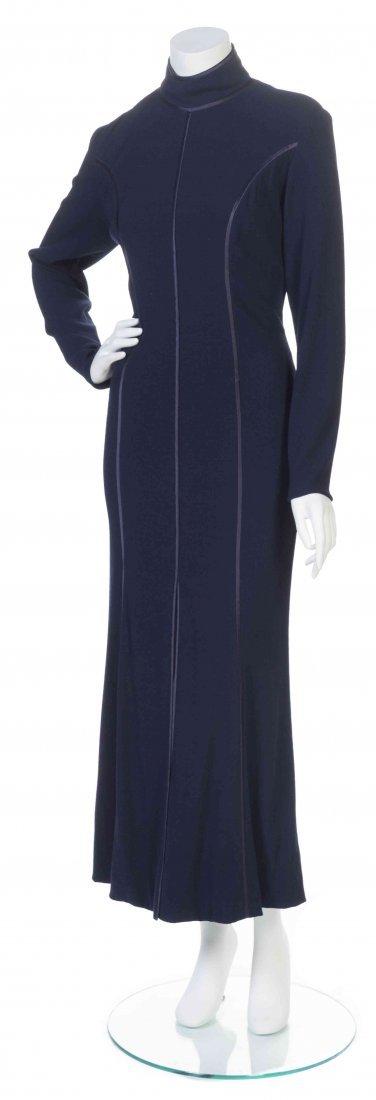 A Navy Crêpe Evening Dress,