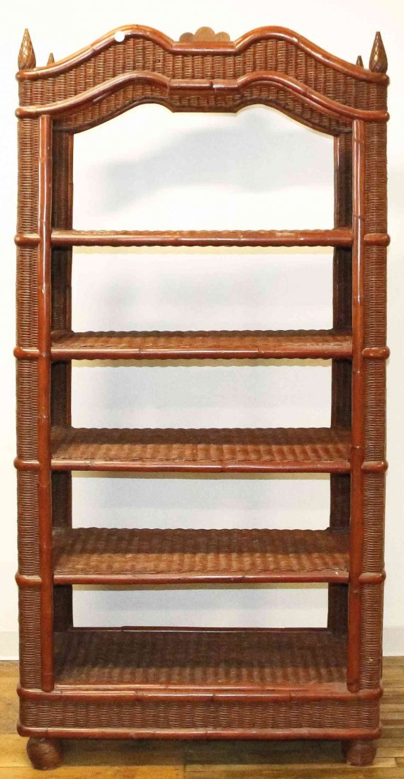 A Victorian Style Wicker Bookcase, Height 79 1/2 x