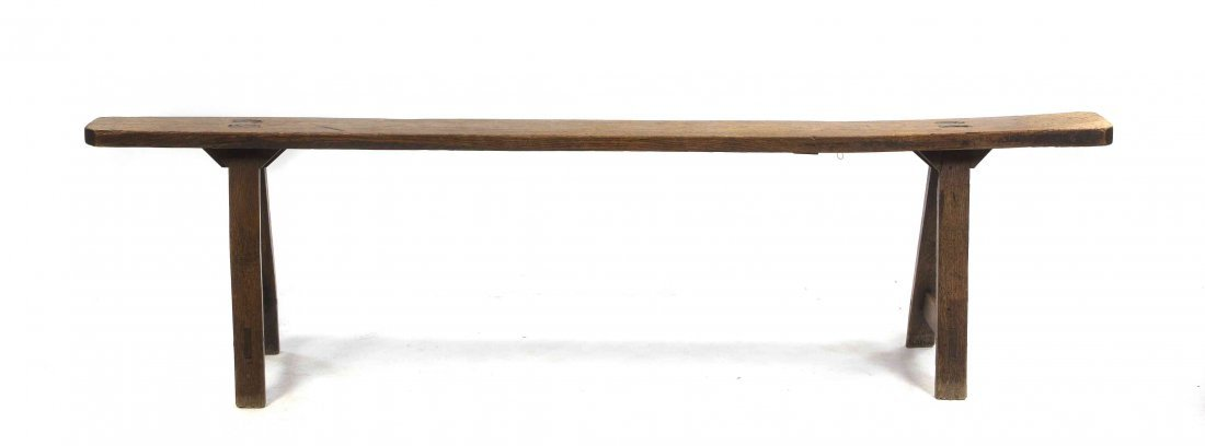 A Provincial Pine Bench, Width 70 inches.