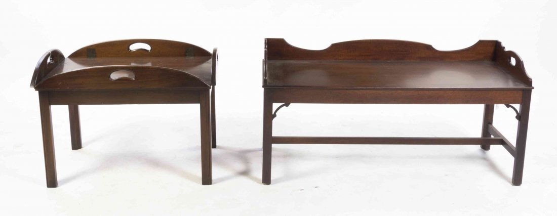 Two Georgian Style Mahogany Butler Trays on Stand,