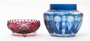 Two Bohemian Glass Articles, Height of tallest 6 1/4
