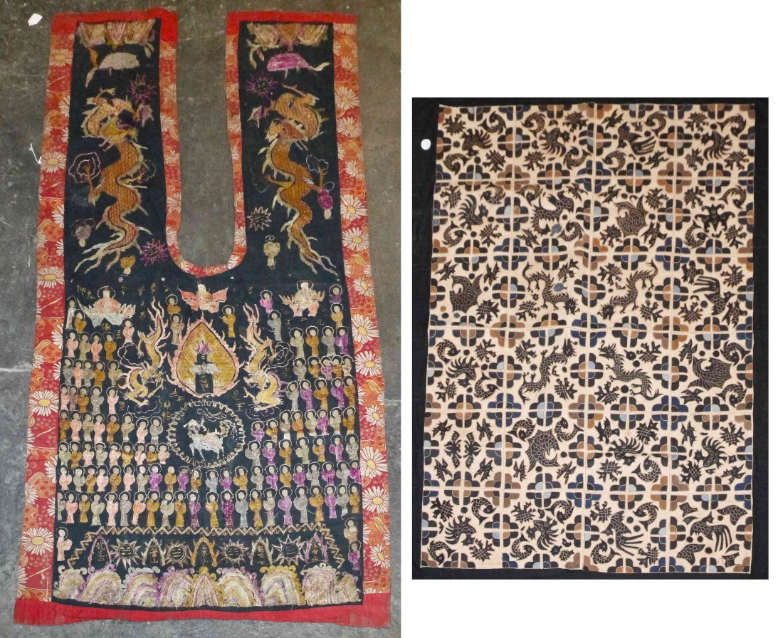Two Hmong Textile Panels. Length of larger 71 1/2