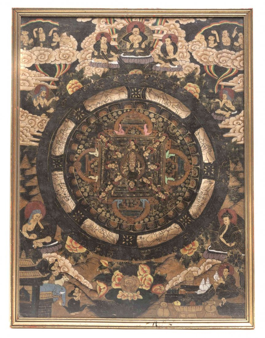A Tibetan Mandala Painting, Height 16 x width 11 3/4