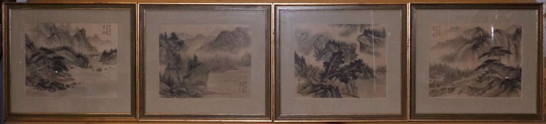 Four Landscape Paintings, Height of largest 12 1/8 x