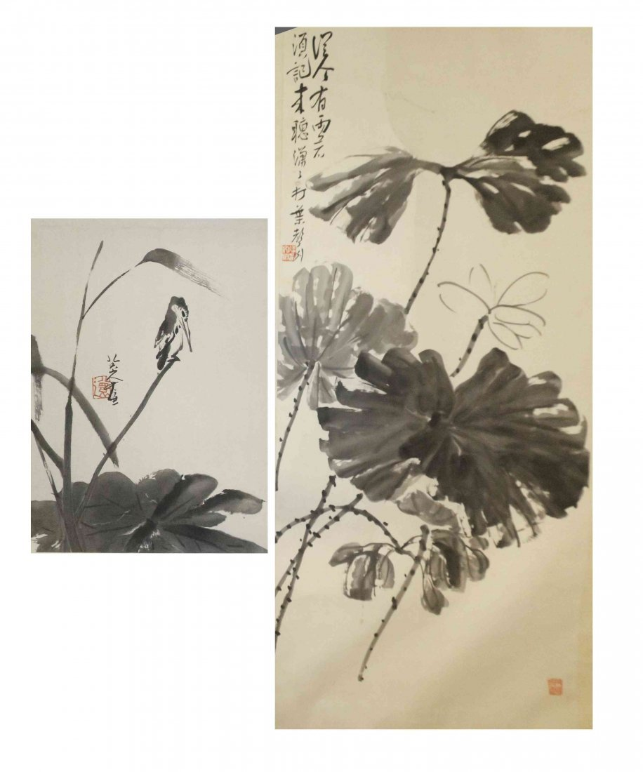 Two Chinese Scroll Paintings, Height of tallest 52 3/8