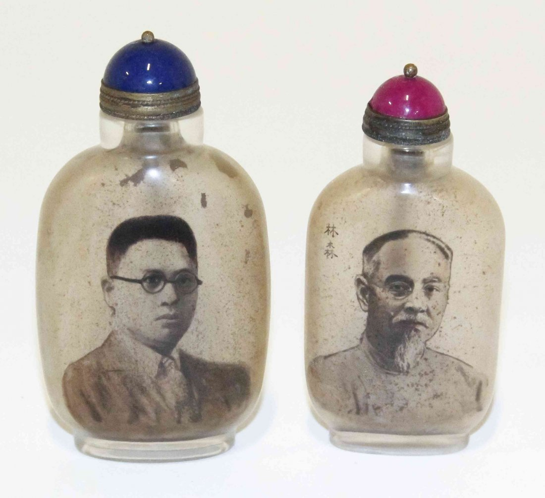 Two Chinese Interior Painted Snuff Bottles, Height of