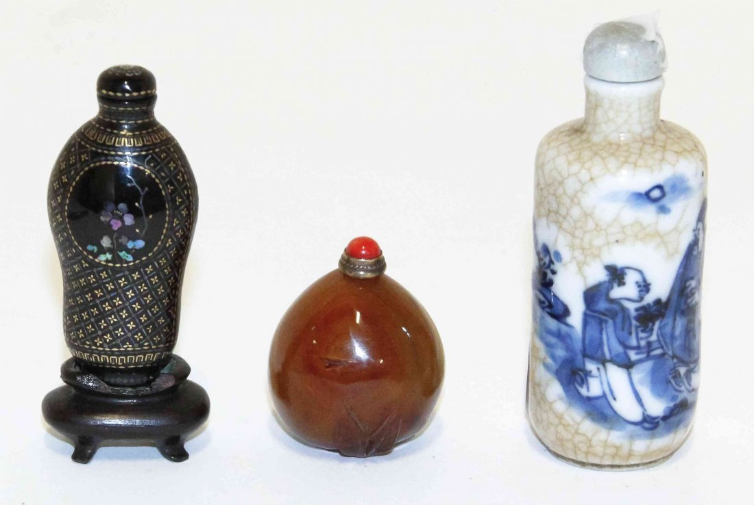 Three Snuff Bottles, Height of tallest 3 1/8 inches.