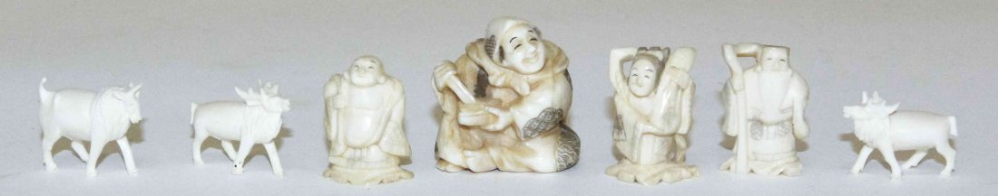 Seven Carved Ivory Articles, Height of tallest 1 5/8