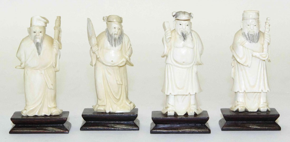 Four Chinese Carved Ivory Figural Snuff Bottles, Height