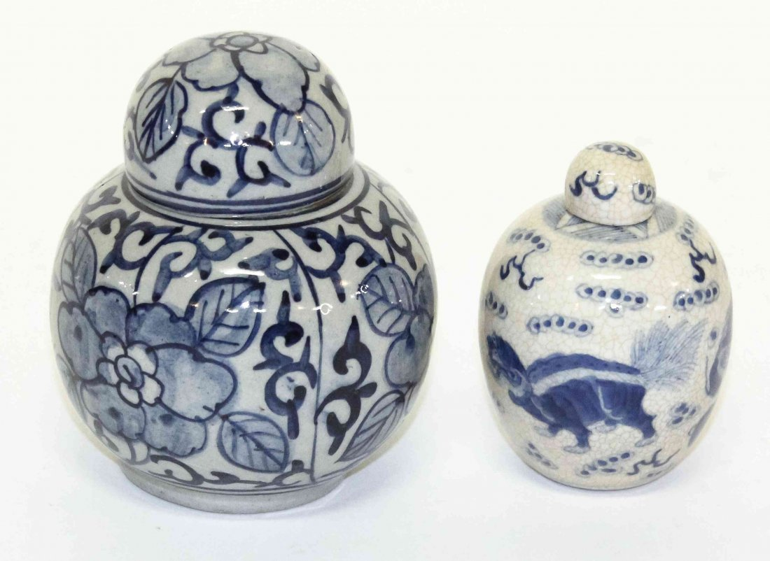 Two Blue and White Porcelain Articles, Height of taller