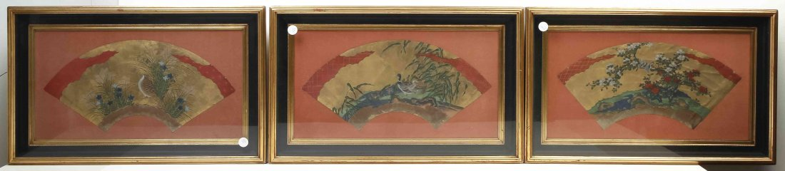 A Group of Three Japanese Fan Paintings, Width of